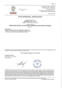 TYPE APPROVAL CERTIFICATE - BV; Cryogenic safety relief valve-900LBS 3-4X1Inch