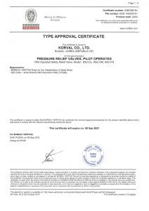 TYPE APPROVAL CERTIFICATE - BV; Pilot Operated Safety Relief Valve / KSC-DL, KSC-DM, KSC-PH