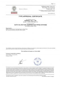 TYPE APPROVAL CERTIFICATE - BV; Tank Safety Isolation Valve