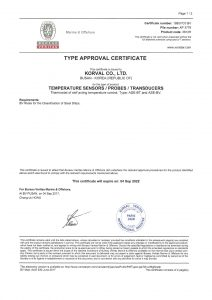 TYPE APPROVAL CERTIFICATE - BV; TEMPERATURE SENSORS / PROBES / TRANSDUCERS