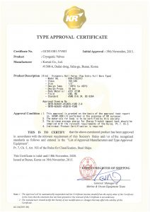 TYPE APPROVAL CERTIFICATE - KR; Cryogenic Ball Valve