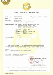 TYPE APPROVAL CERTIFICATE - KR; Cryogenic Valves