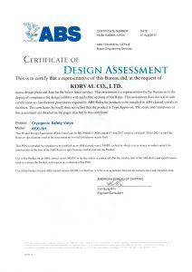 CERTIFICATE OF DESIGN ASSESSMENT -ABS; KSC-SH