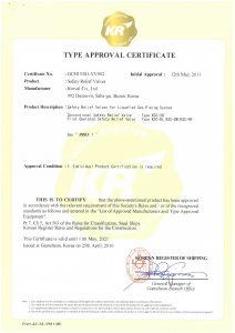 TYPE APPROVAL CERTIFICATE - KR; Safety Relief Valve / Conventional & Pilot Type