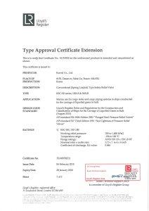 TYPE APPROVAL CERTIFICATE - LR; KSC-SH