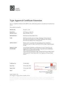 TYPE APPROVAL CERTIFICATE - LR; KSC-DL, KSC-DM, KSC-PH