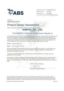 CERTIFICATE OF DESIGN ASSESSMENT -ABS; KSC-DM, KSC-DL, KSC-PH