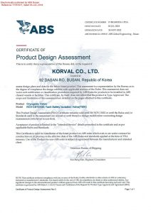 CERTIFICATE OF DESIGN ASSESSMENT -ABS; Tank Safety Isolation Valve