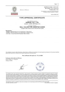 TYPE APPROVAL CERTIFICATE - BV; BALL VALVES / Top entry full & reduced bore type