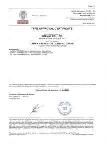 TYPE APPROVAL CERTIFICATE - BV; CHECK VALVE / Swing Type
