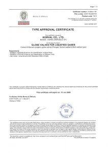 TYPE APPROVAL CERTIFICATE - BV; GLOBE VALVE / Control & Manual valve regular type